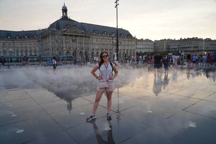 Wearing a backpack in Bordeaux